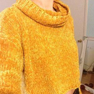 Mustard Missguided Crop Sweater